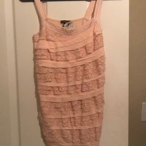 Express Lace Ruffle Tank Top in Baby Pink